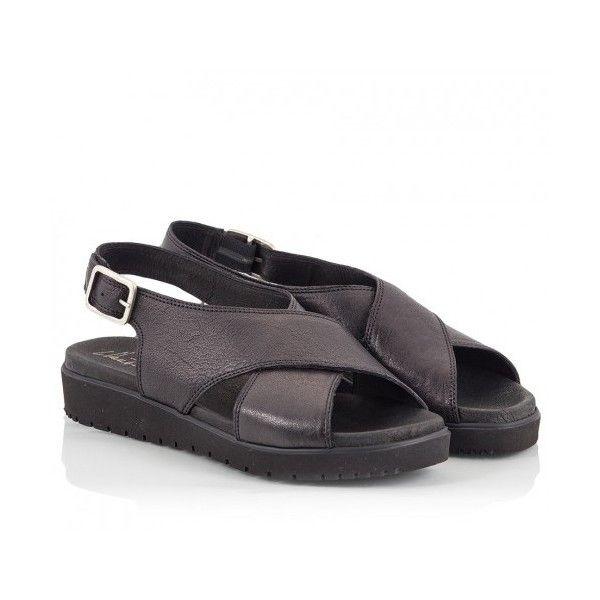 Black strap leather cross flatform sandals criss Fratelli Karida A5vqnT