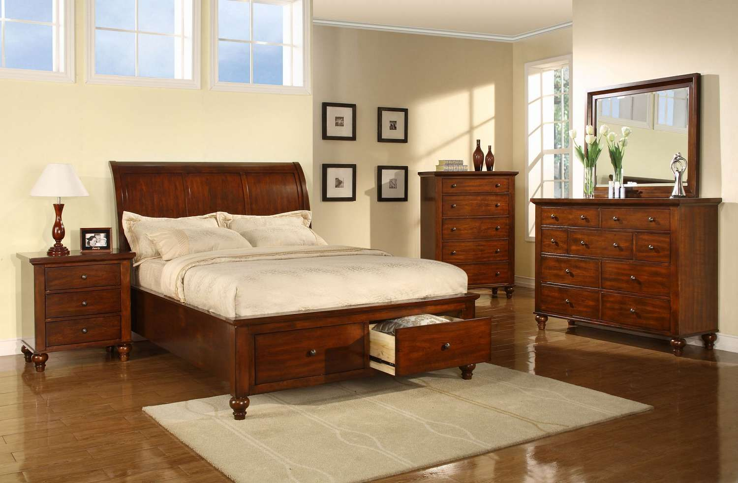 All Wood Bedroom Set   FFO Home This Set Includes A Queen Headboard,  Footboard,