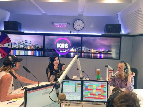 @thekatvond hanging out now! #KJSHOW @kiis1065 [December 2nd, 2014 via kyle and jackie-o] Kat von D