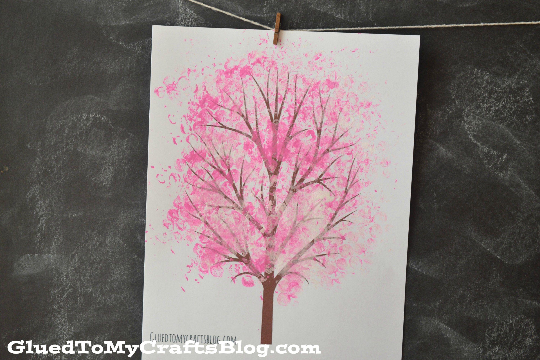 Bubble Wrap Print Cherry Blossom Tree Kid Craft Idea For Spring Spring Tree Art Cherry Blossom Tree Easy Art For Kids