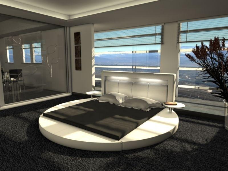 Rundbett Design Bett Rund NIGHT Polsterbett Ehebett Doppelbett Mit  Nachttischen