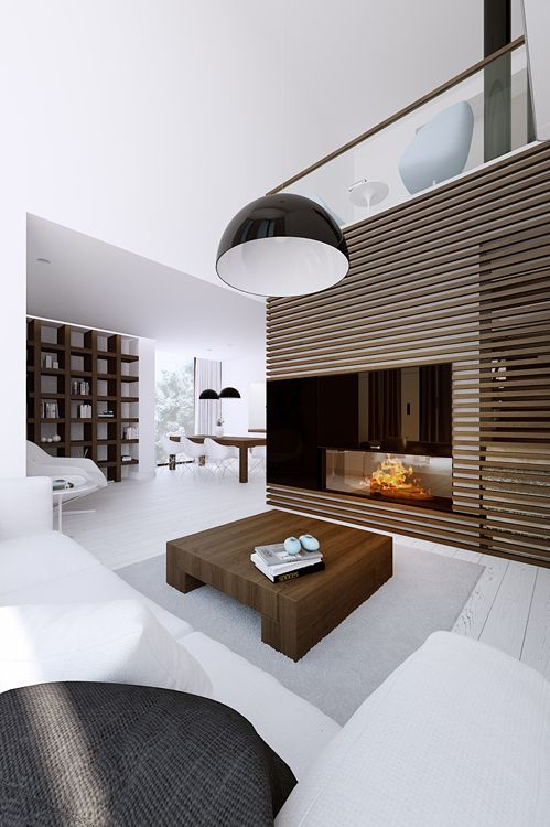 Living Room - Masculine & contemporary interior with a textured & glass wall encasing the linear fireplace. Very cool!
