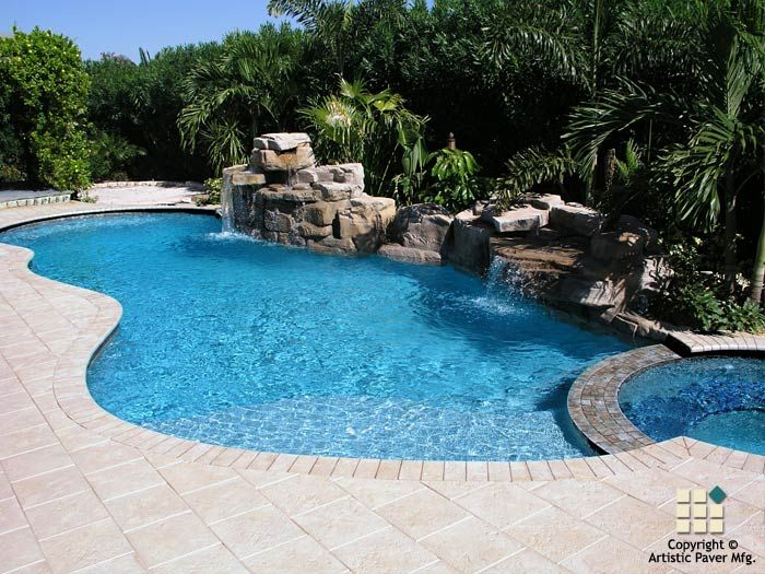 Corallock pavers and coping in the color ivory in an for Pool design pattern