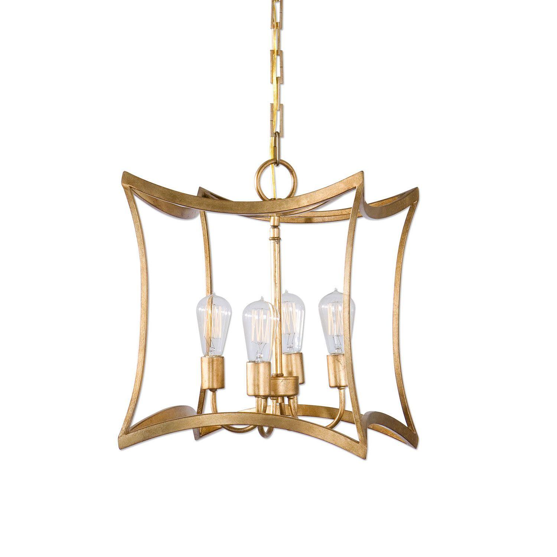 Dore Gold Four Light Lantern Pendant Uttermost Lantern Pendant Lighting Ceiling Lighting