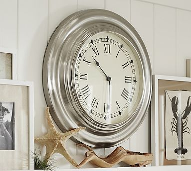 Elegant Clock Great For Dining Or Living Room Antique Silver