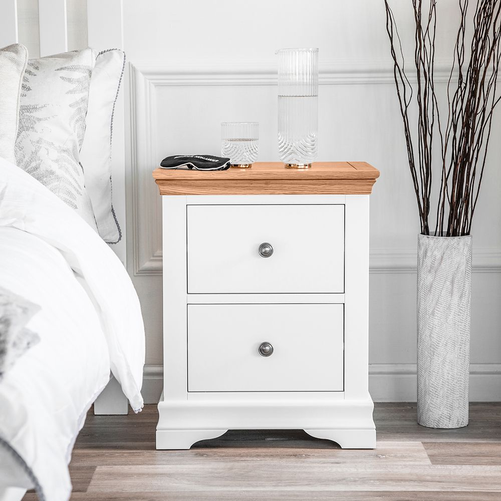 Dover White Painted Large Bedside Table Large Bedside Tables