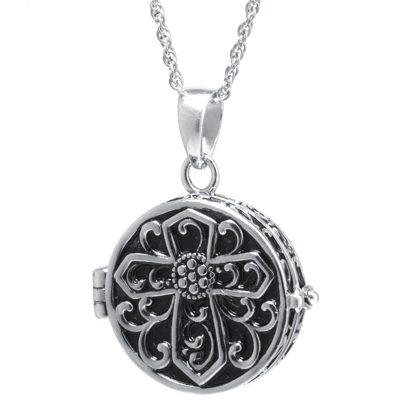 Sterling Silver Round Prayer Box Locket Pendant