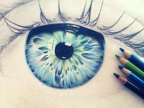 Eyes Blue and Green Art Pencil Drawing <3