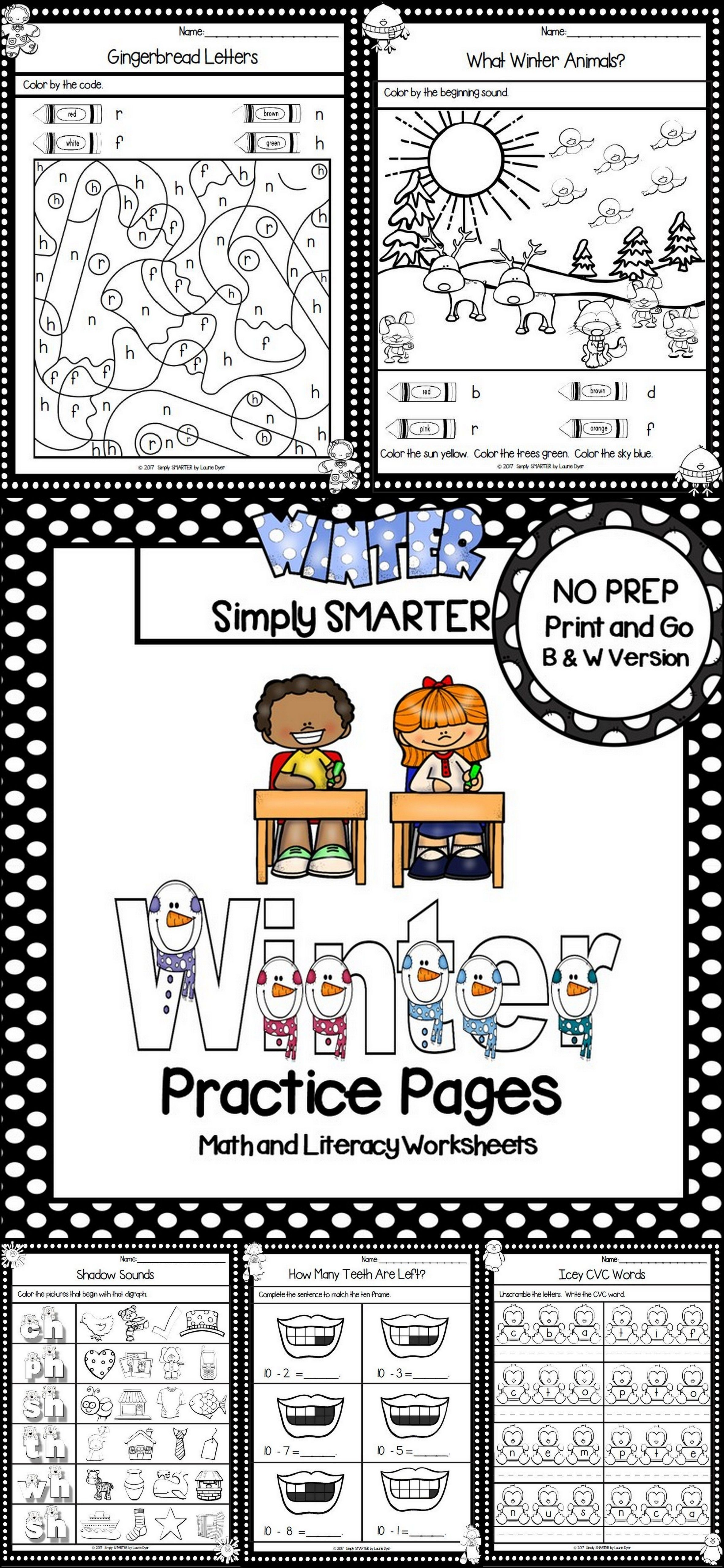 Winter Practice Pages No Prep Math And Literacy