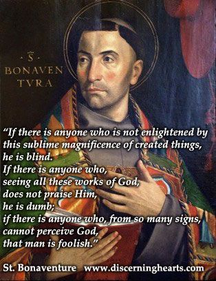 """St. Bonaventure - """"...If there is anyone who, from so many signs, cannot perceive God, that man is foolish."""" - Every Day is a Gift 