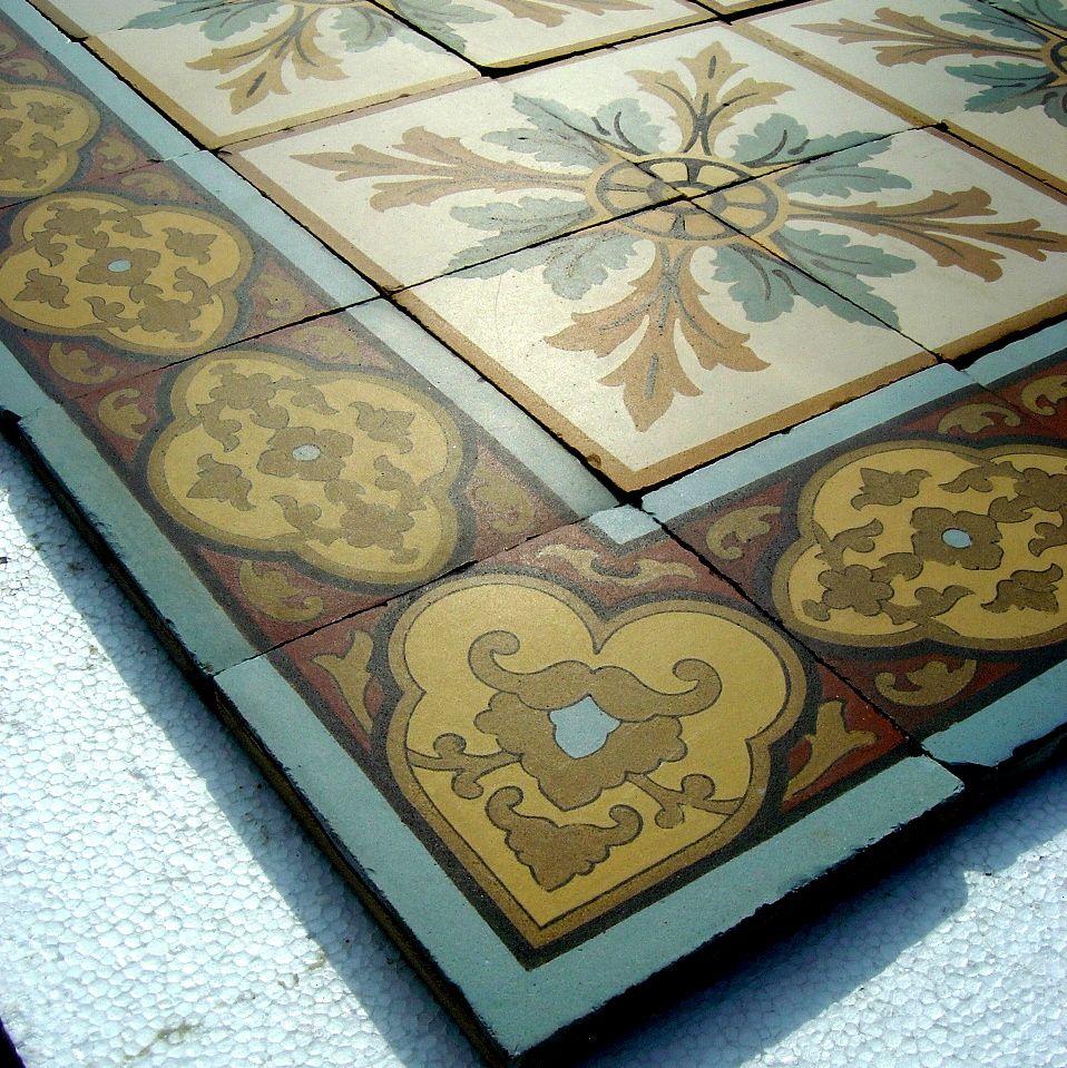 12m2 Of Antique Boch Freres Ceramic Tiles With Moorish