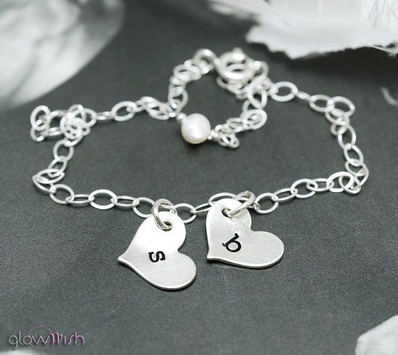 Friendship bracelet Two Initials Letter charm by GlowWish on Etsy