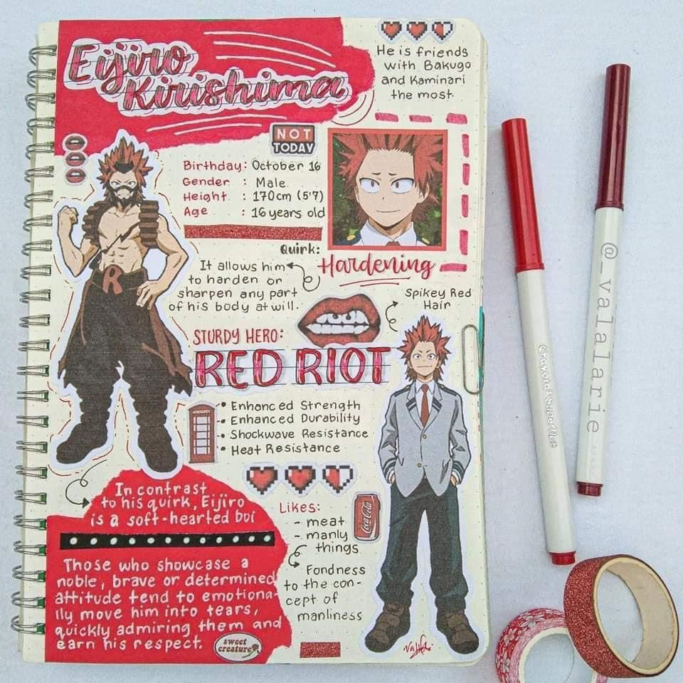 Eijiro Kirishima Anime Book Bullet Journal Themes Journal Themes