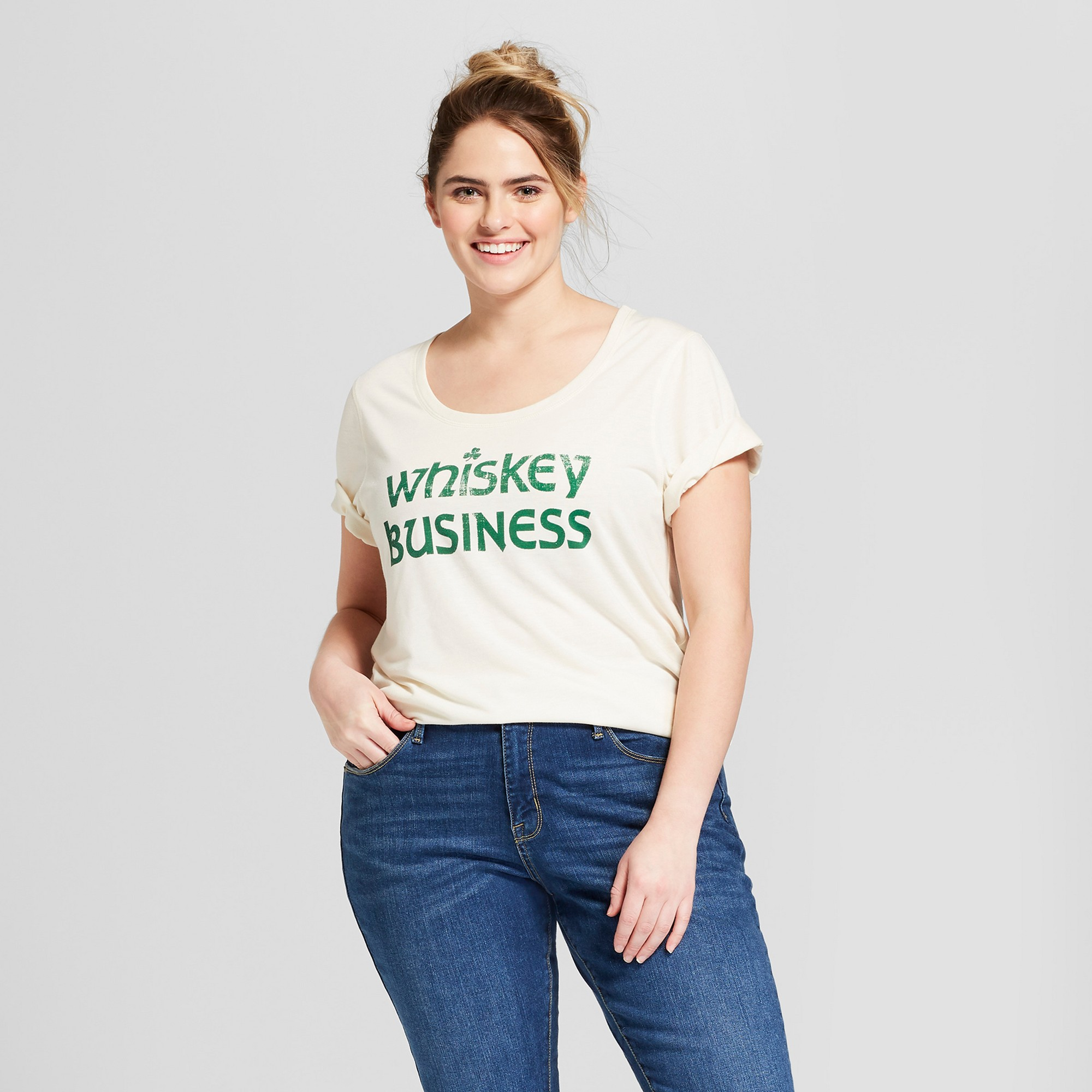 ca376706f Women's Plus Size St. Patrick's Day Whiskey Business Scoop Neck Short  Sleeve Graphic T-Shirt - Grayson Threads - White 2X, Beige
