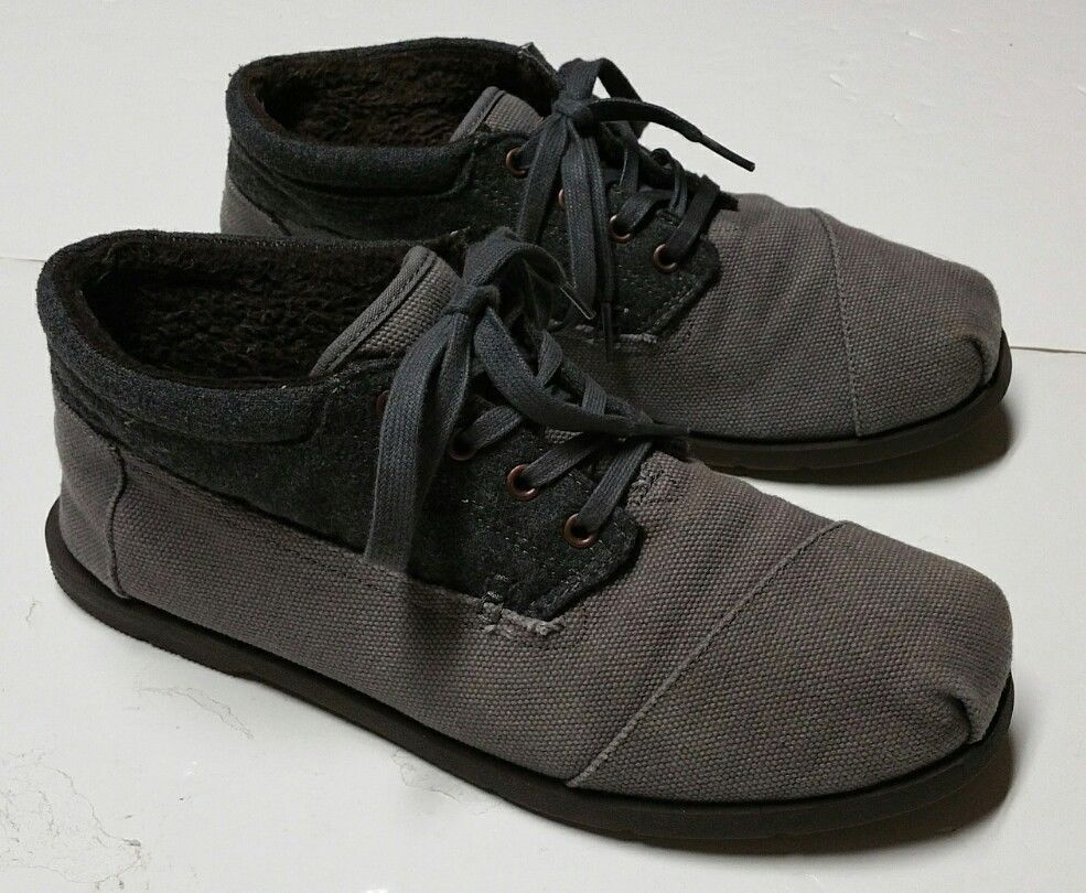 Toms Mid Ankle Boot Gray Canvas Lace Up Shoes Men S 11 Casual Travel Vacation Toms Boatshoes Lace Up Shoes Shoes Mens Boat Shoes