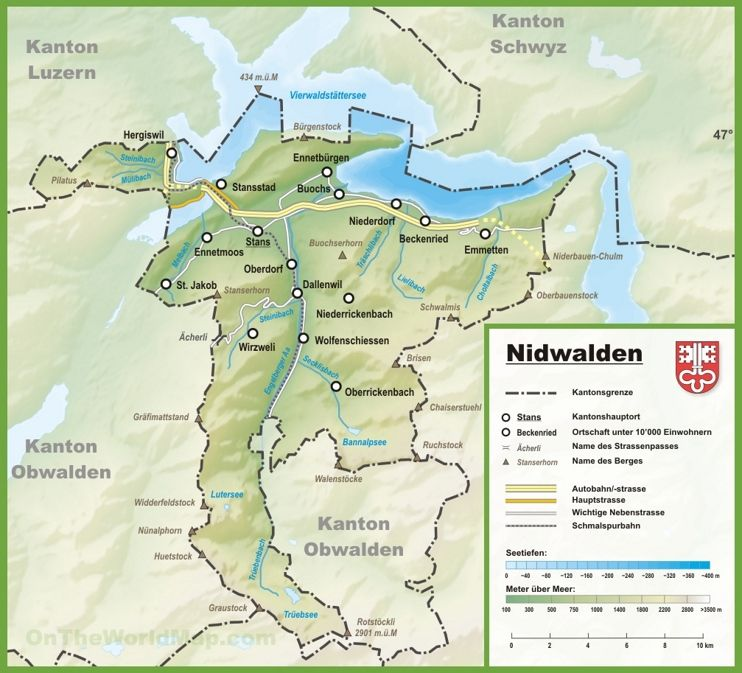 Canton of Nidwalden map with cities and towns | Maps in 2019 ...