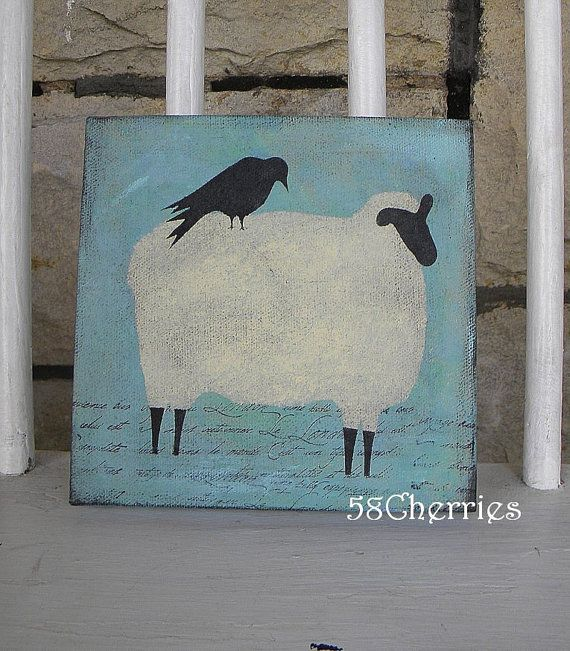 Shabby Sheep Canvas with Crow - Original - French Prim Decor and ...