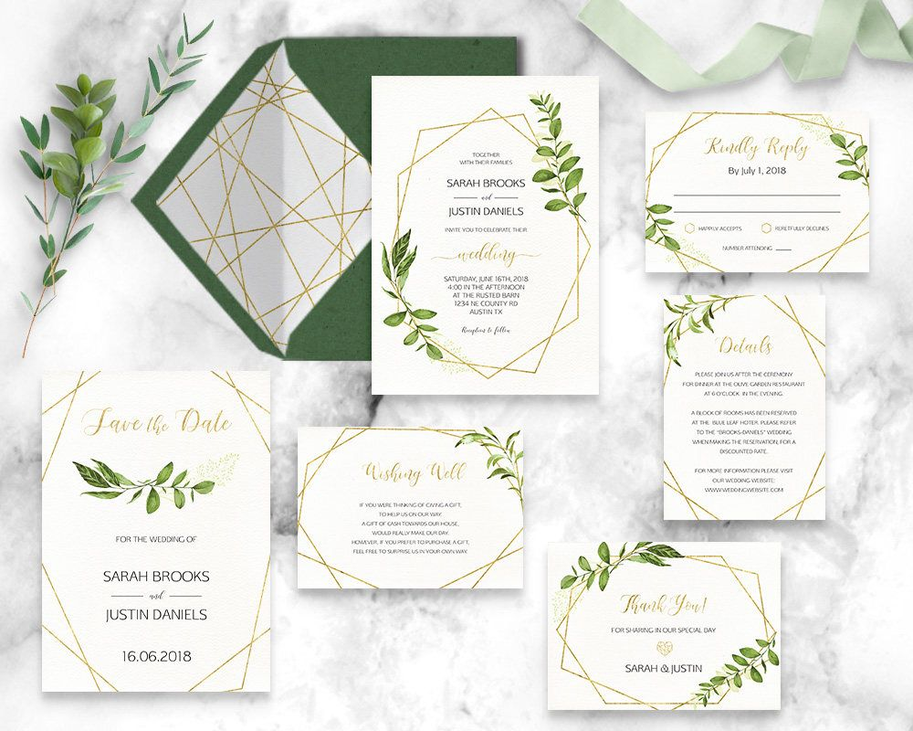 Geometric Wedding Invitation Suite Printable Invitation Set Modern Greenery Leafy Gold Wedding Invitation Inspiration Geometric Invitations Wedding Invitations