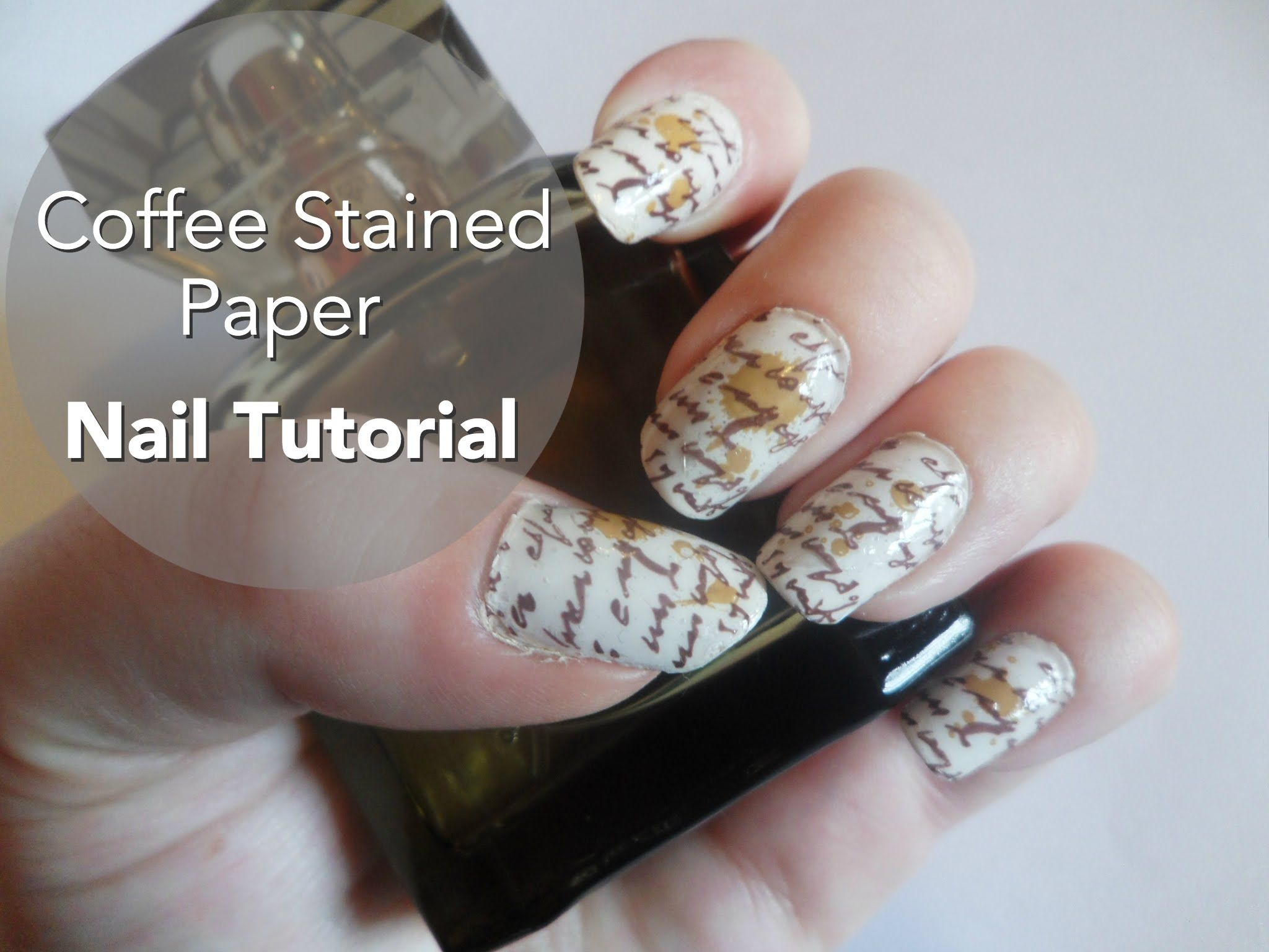Coffee stained paper nail art tutorial nail art board pinterest