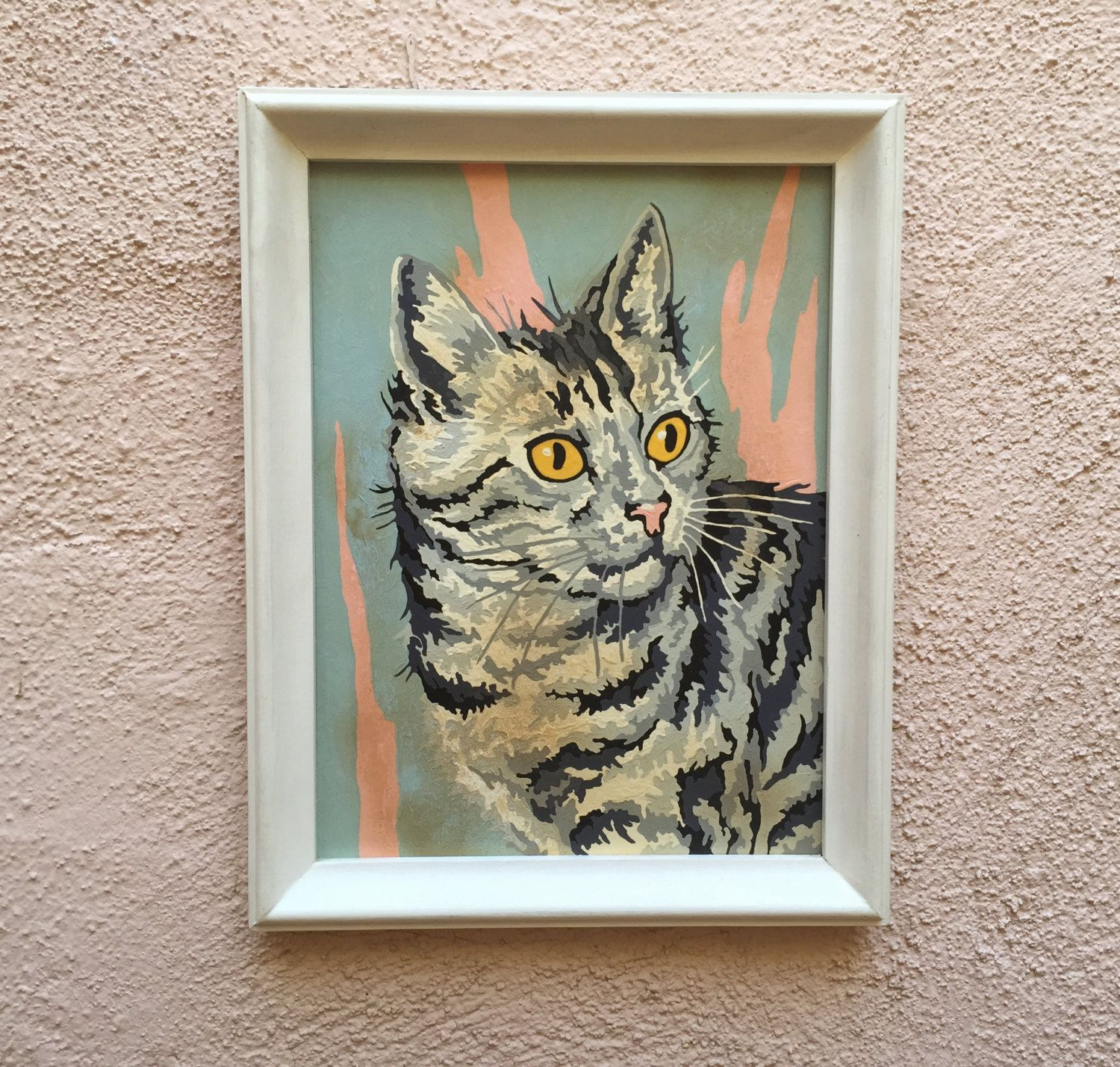 60's Craft Master Kitty Cat Paint By Number Framed by
