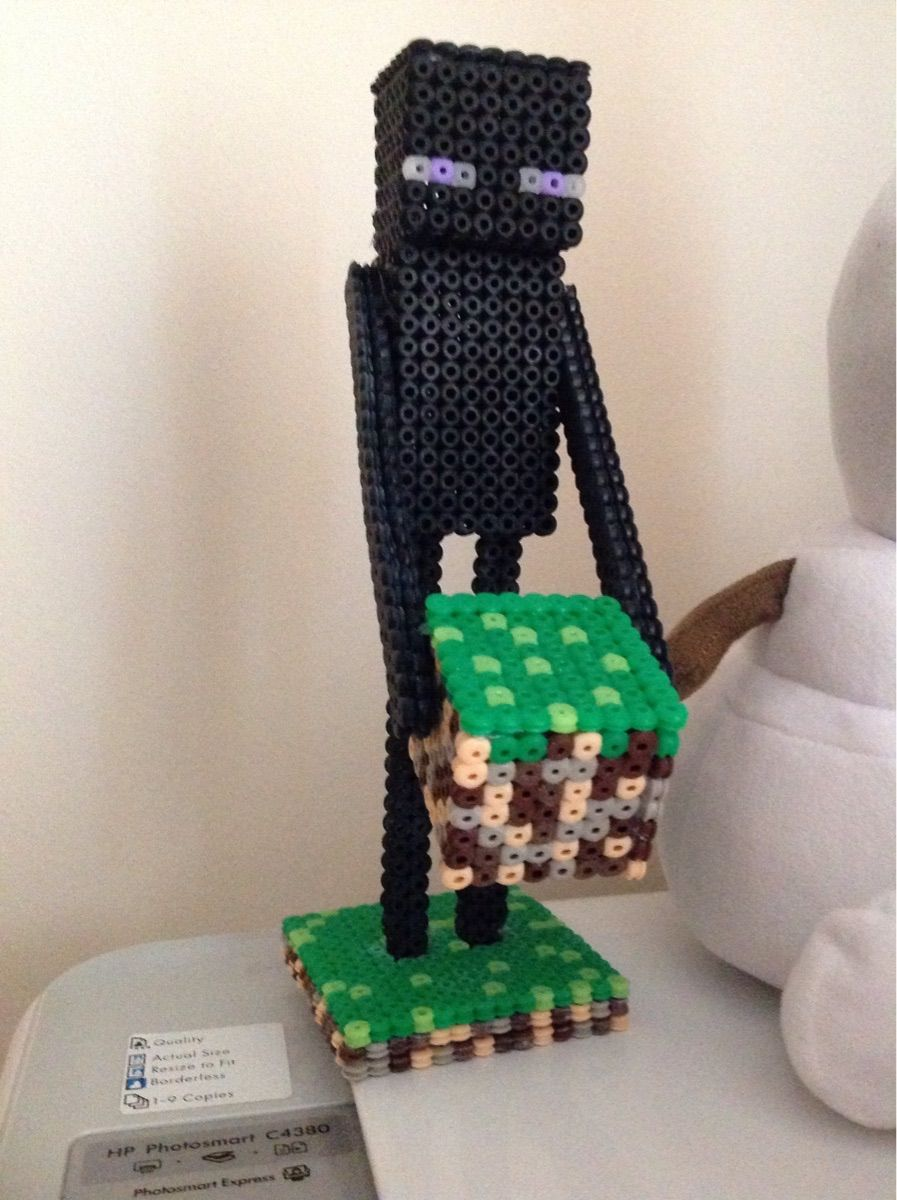 hight resolution of 3d minecraft enderman with grass block perler beads by becky18boop