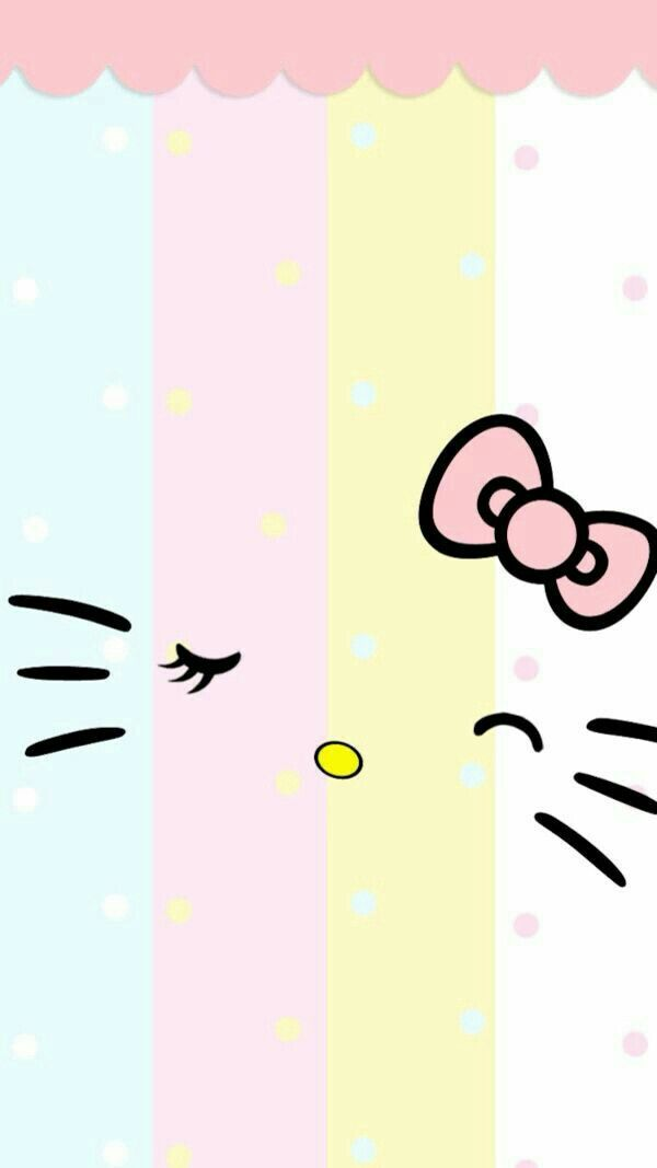 Light Colors Hello Kitty Face Gambar Kartun Seni Kucing