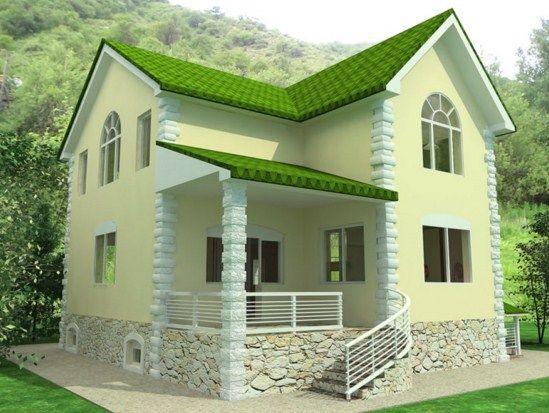 Fachadas de casas con tejas verdes casas viviendas for Casas pequenas modernas y bonitas