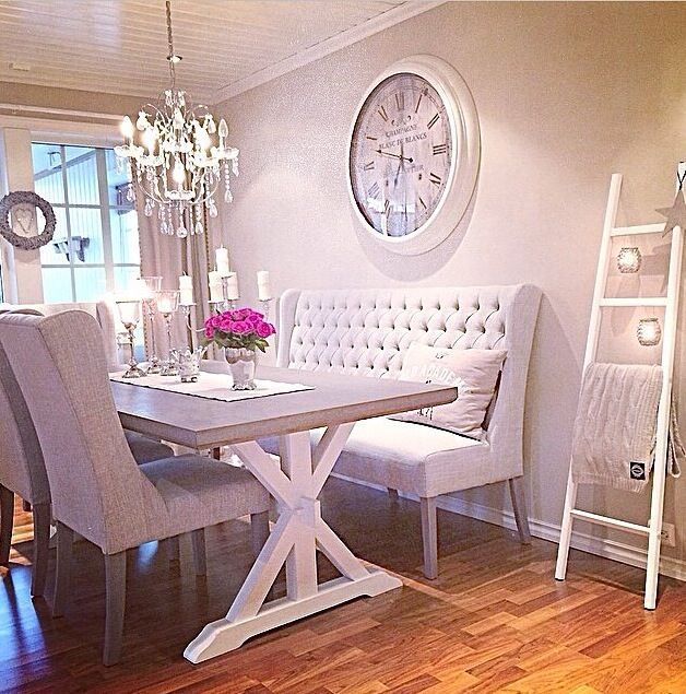 Tufted Dining Room Benches Love The Candles Hanging Of The Ladder