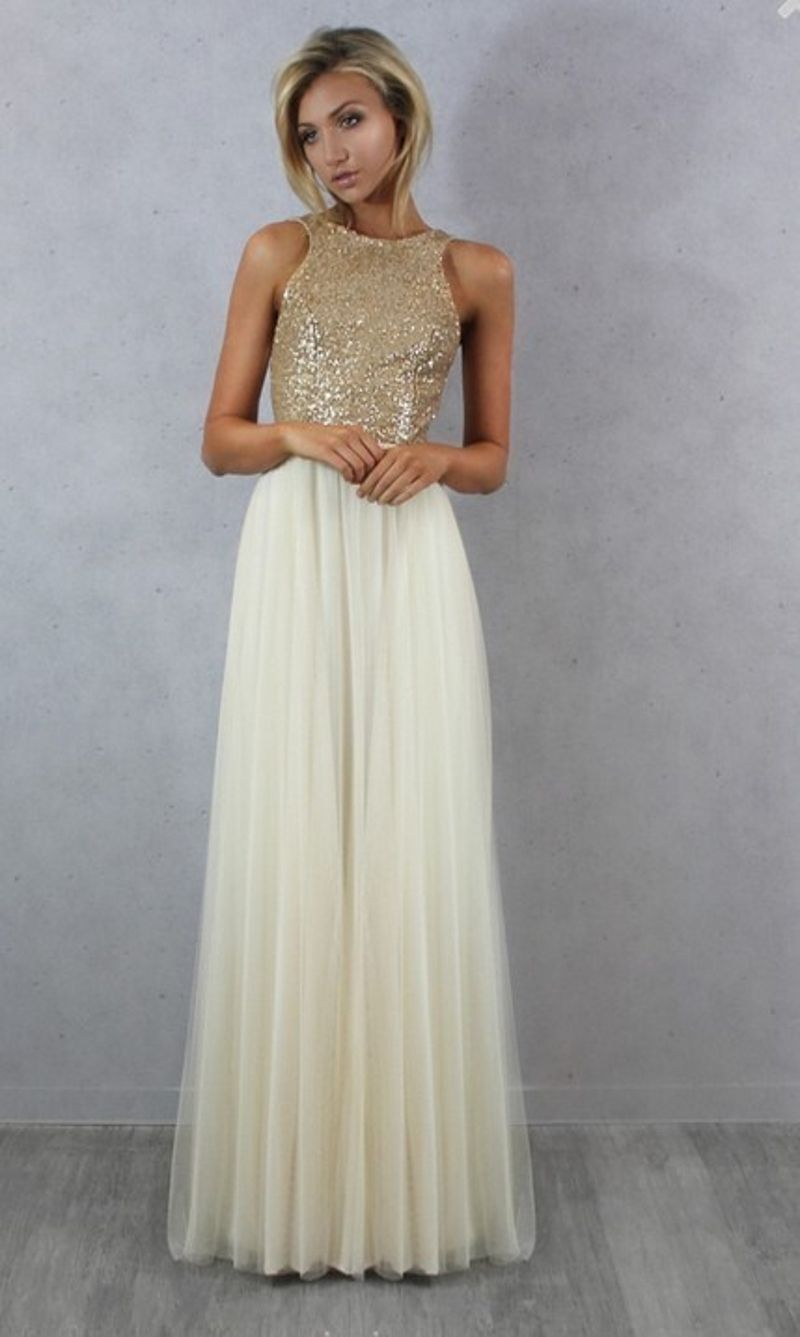 7c5fa35b573c Charmming Chiffon with Top Sequin Bridesmaid Dress - Uniqistic.com