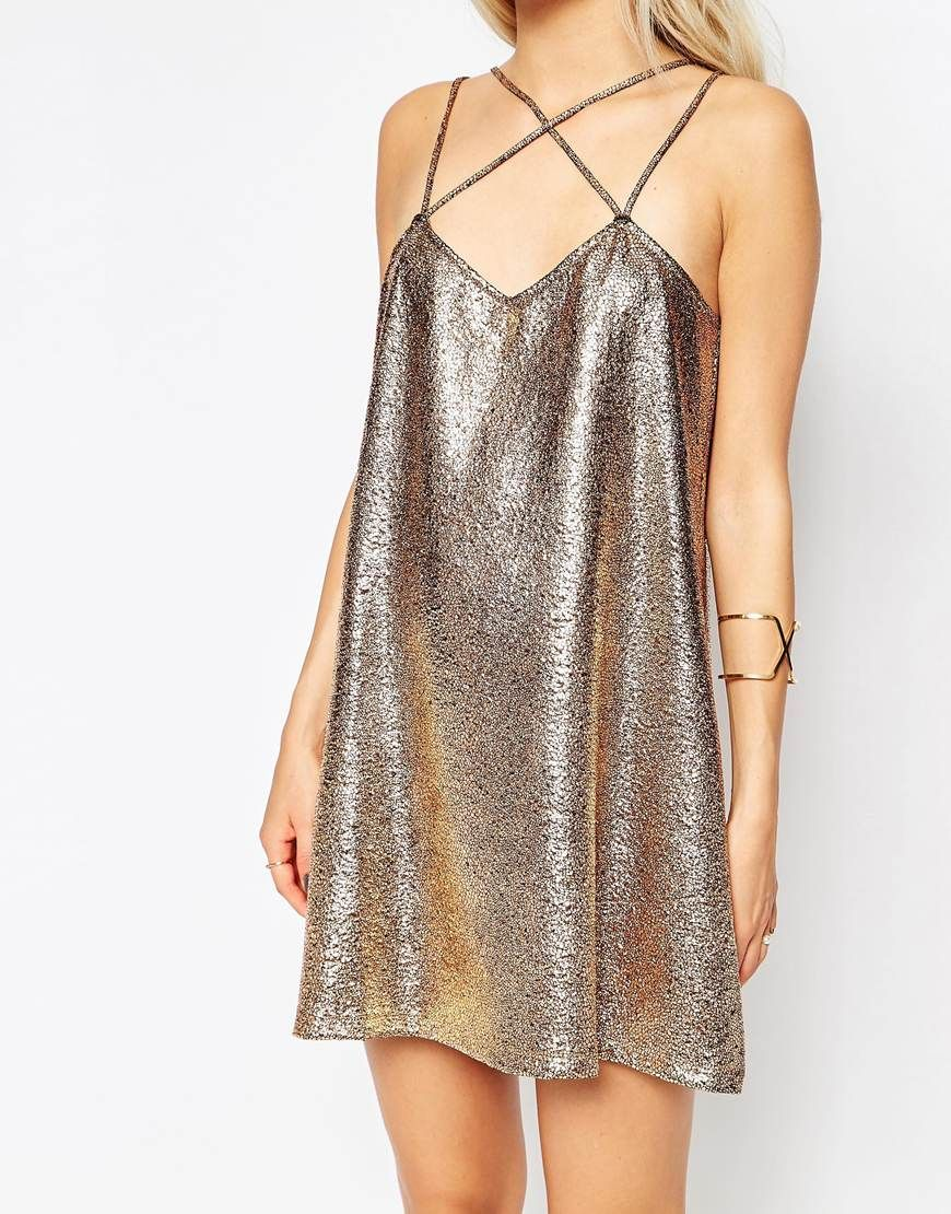 Image of motel swallow tail slip dress in crackle rose gold