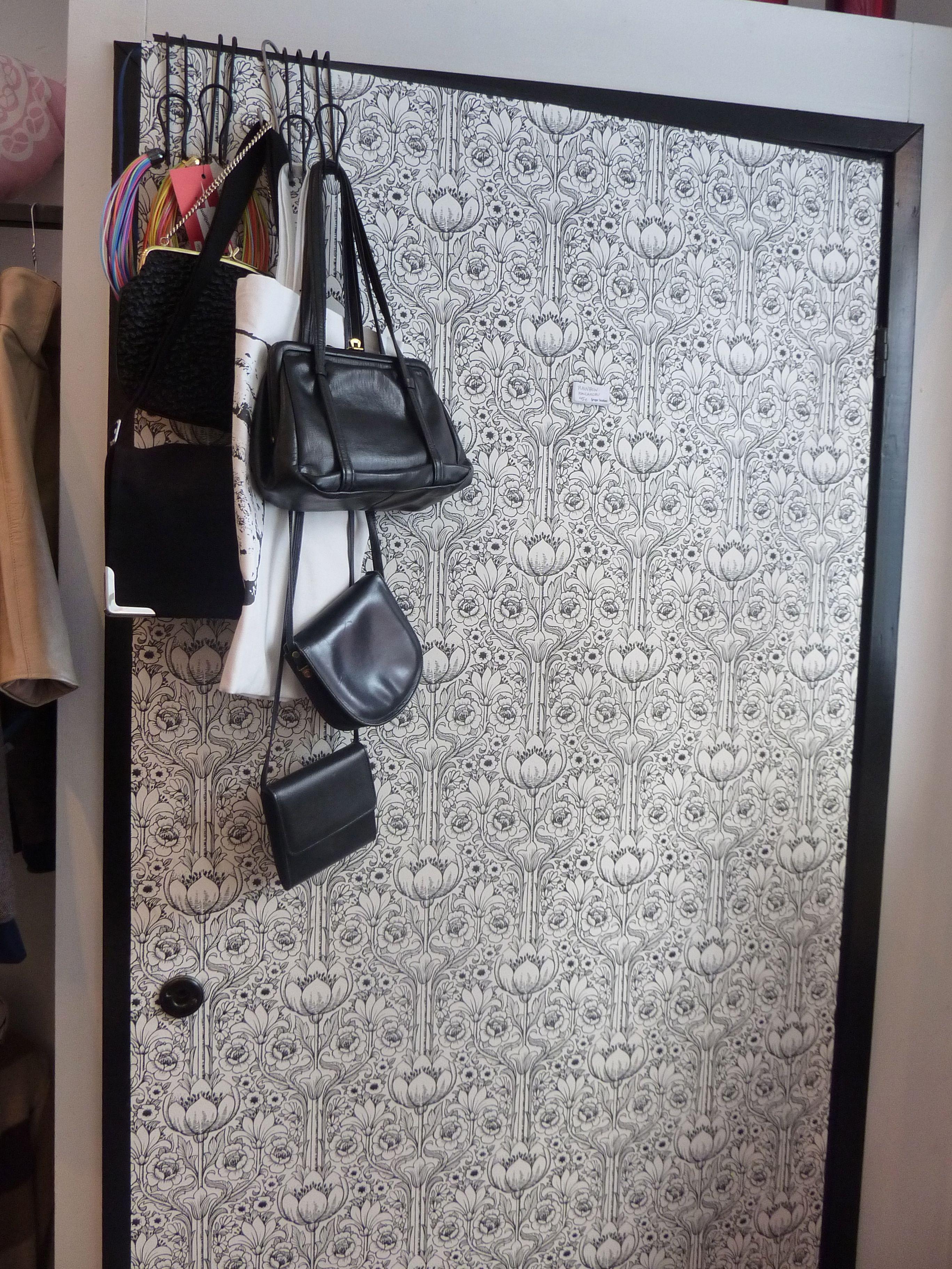 Wallpaper the door.