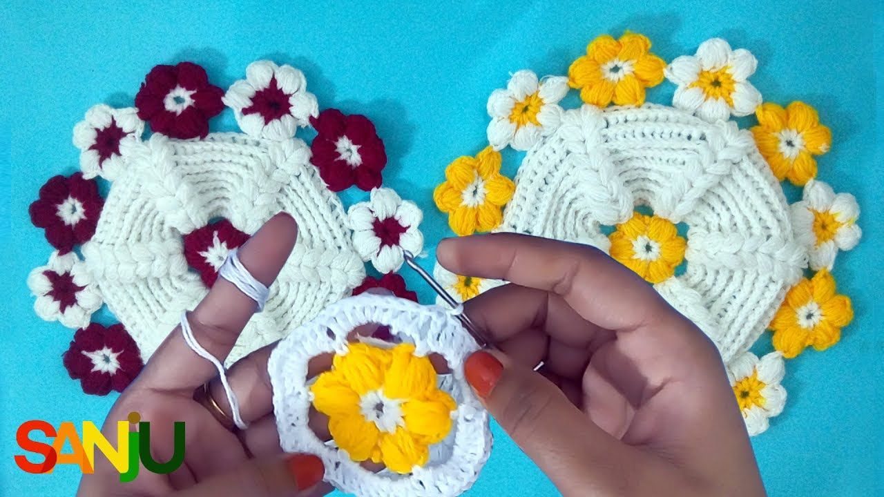 How to make crochet table mat with puff flower   crochet thali cover ...