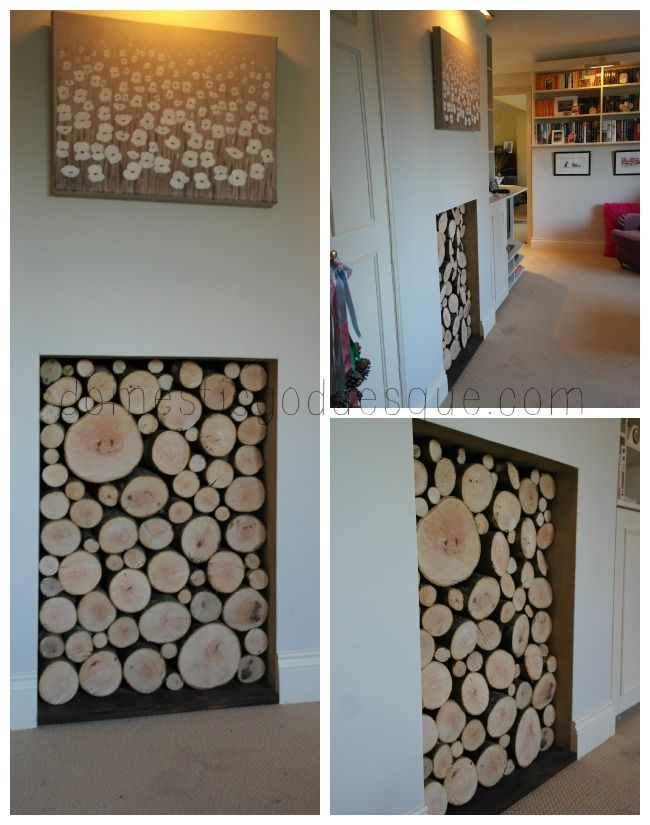 decorative log filled fireplace - Decorative Fireplace
