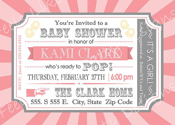 Custom pink popcorn and carnival baby shower invitation custom pink popcorn and carnival baby shower invitation filmwisefo Images