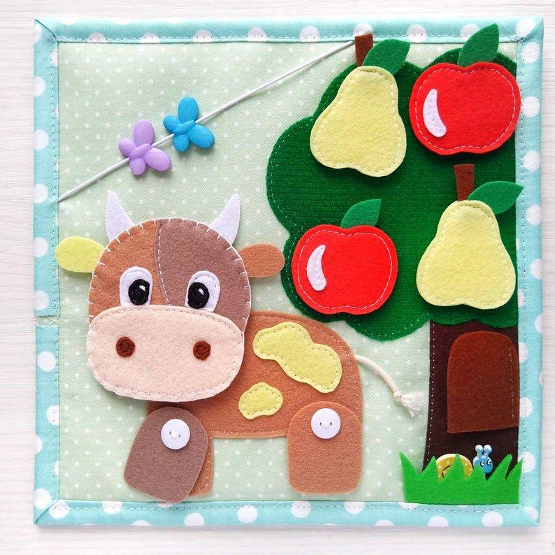 Quiet Book Toddler Tablet About The Farm And Pets Felt Barn Cow Sheep Goose Collect Fruit From Felt Montessori Toy En 2020 Libros De Fieltro Libros De Tela Manualidades