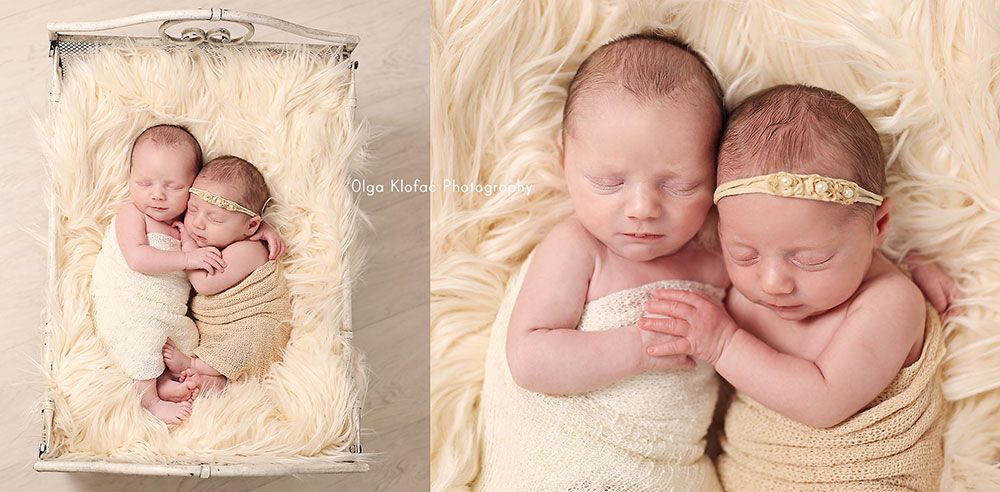 Newborn twin babies unique fine art baby portraits by olga klofac professional baby photographer charlestown