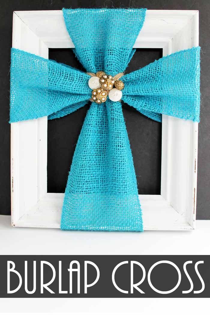 Make this cross decor with burlap ribbon