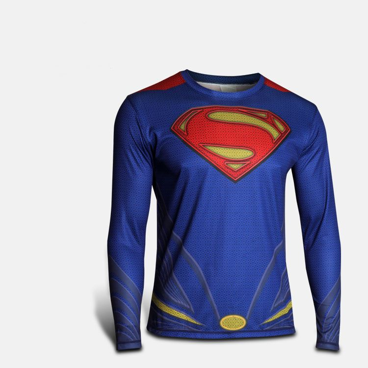 Men Costume T-shirt Fit Top Marvel DC Comics Jersey Cycling Top Superman  Cosplay 5f08d249f