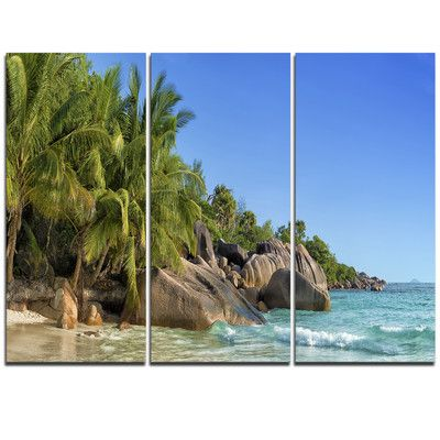 DesignArt Anse Lazio Praslin Island Seychelles - 3 Piece Graphic Art on Wrapped Canvas Set