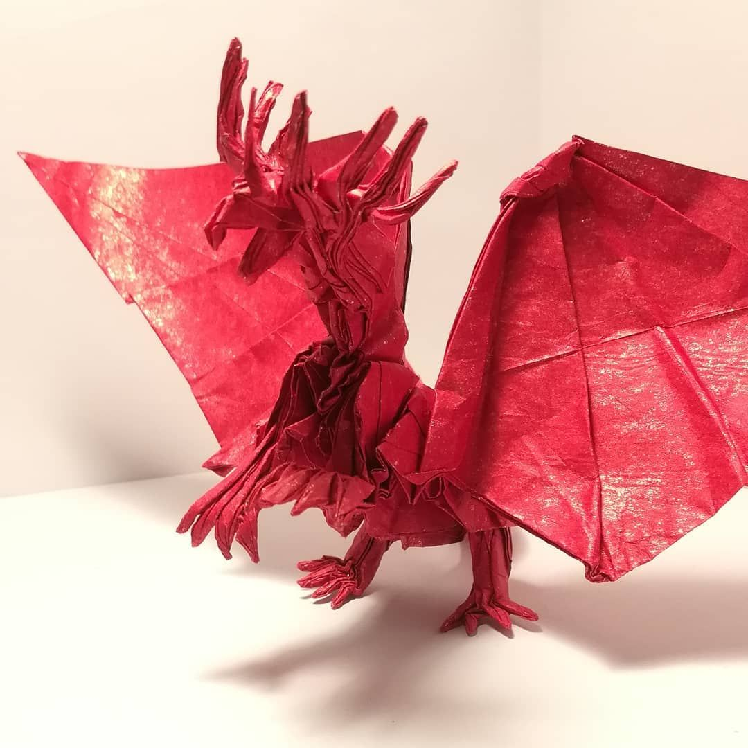 Small Break Off My Ryujin With My First Fold With Tissue Foil I M So Excited About The Quality Of The Result Model Ancient Dragon Dragon Design Origami Art