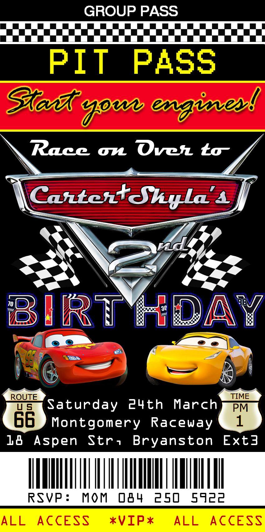 Pit Pass Birthday Invitation Cars Theme