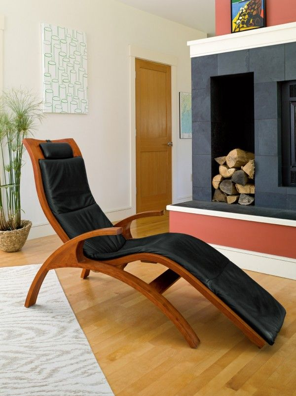 Chaise inspired from furniture designs created by European architects in the 1920s and 1930s.