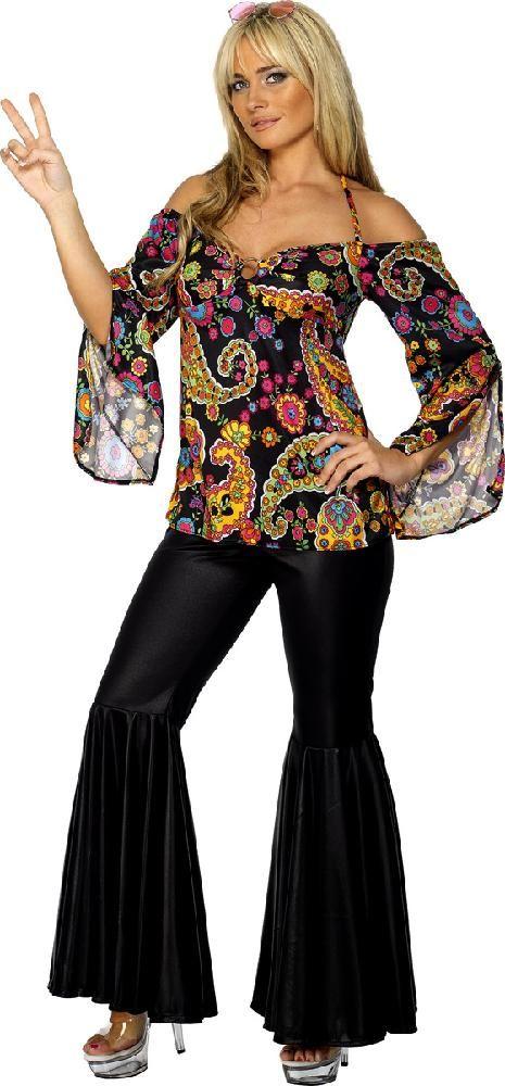 cd11fe0586d9 Adult Hippie Hippy Groovy Fancy Dress Costume 60s 70s Sexy Ladies Women