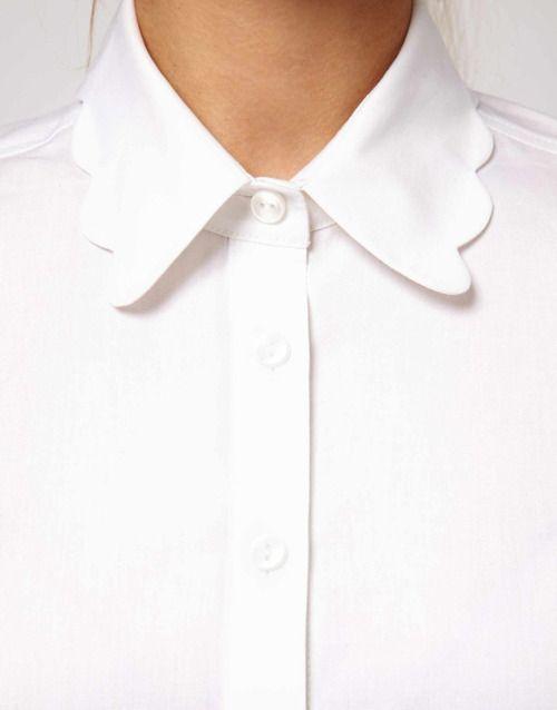 Keil James Patrick, Scalloped collar white shirt http ...