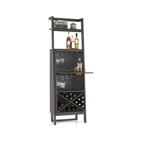 Sawyer Grey Leaning Wine Bar In Bar Cabinets Bar Carts Crate