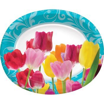 Beautiful Tulip Blossoms 7 Inch Paper Plates Spring Flowers Floral Party Decor