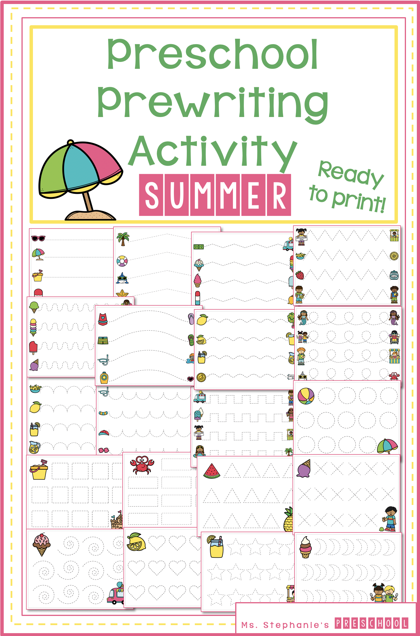 Prewriting Activity Summer Preschool Tracing Worksheets In