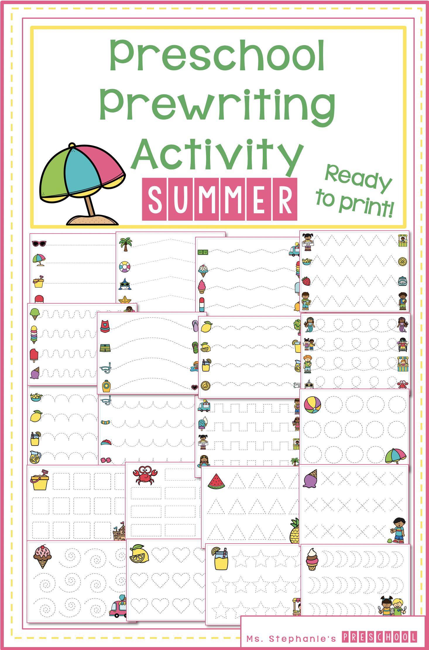 Prewriting Activity Summer Preschool Tracing Worksheets In