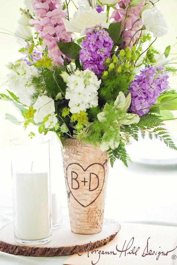 Welcome to Morgann Hill Designs!  1) Description Of Item For sale is a birch bark wood centerpiece vase. Each vase is personalized with a heart &