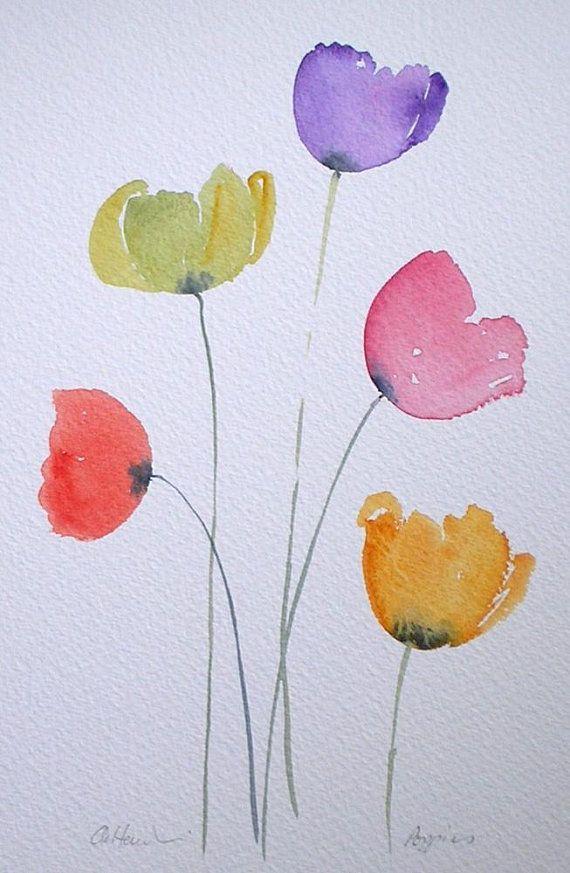 Aquarellmalerei BUNTE MOHNBLUMEN ursprüngliche Kunst durch Künstler Amanda Hawkins 17 x 26cm ungerahmt unmontiert. Gartenblumen, Blumen, Mohn Kunst - Blumen Blog #painting